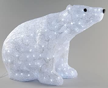 Acrylic Outdoor Christmas Polar Bear Decoration With Cool White Leds