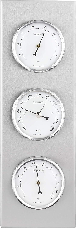 GardenMate® Estación meteorológica analógica Bob 30x10cm 4260313265459marco de Acero Inoxidable higrómetro termómetro barómetro