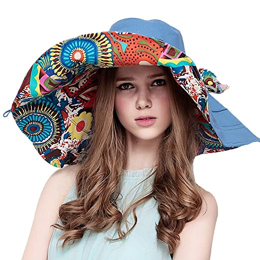 Maitose Trade  Women s Wide Brim Summer Beach Sun Hat Blue at Amazon ... 2a8a52941e10