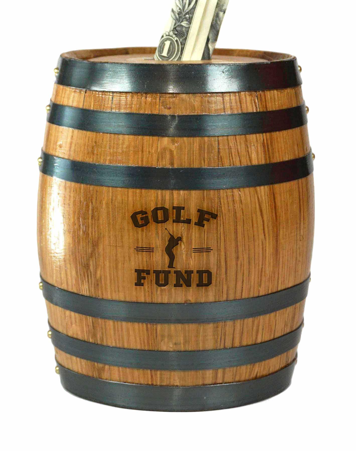 Mini Oak Barrel Piggy Bank Fund for Various Sports (Golf Fund) by THOUSAND OAKS BARREL
