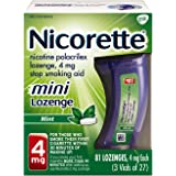 Mini Nicorette Nicotine Lozenge to Stop Smoking, 4mg, Mint Flavor, 81 Count