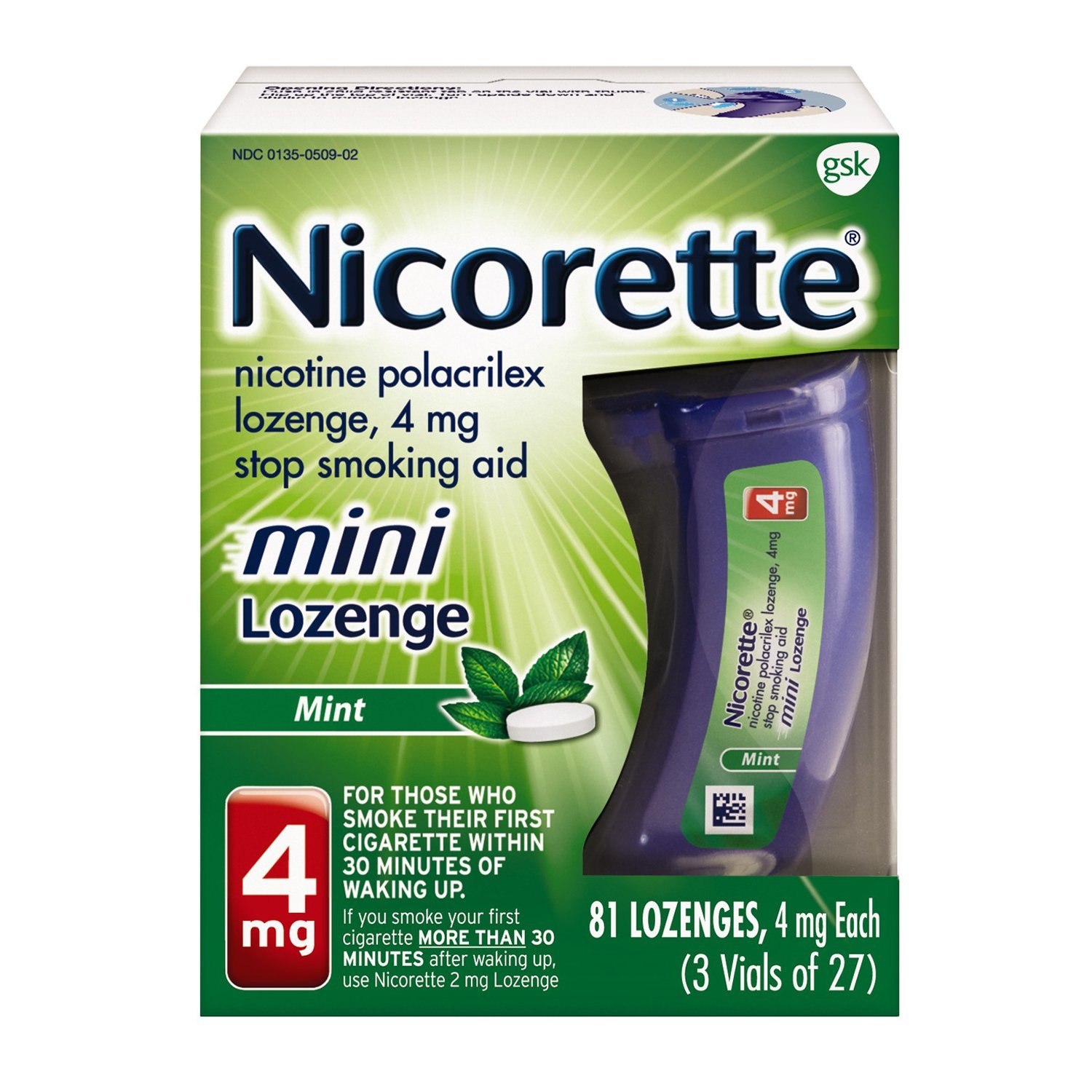 Mini Nicorette Nicotine Lozenge Stop Smoking Aid, 4 mg, Mint Flavored Smoking Cessation Product, 81 Count by Nicorette