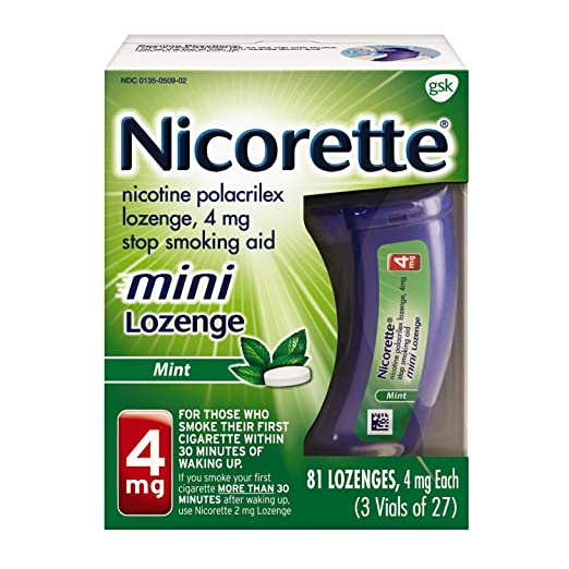 Nicorette mini Nicotine Lozenge Mint 4 milligram Stop Smoking Aid 81 count