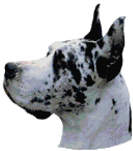 Cross-Stitch Harlequin Great Dane Dog Portrait Counted Cross Stitch Pattern Patterns