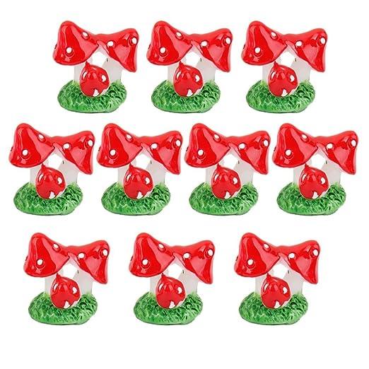 Generic 10pcs Miniature Mushroom Bushes Dollhouse Bonsai Garden Resin Landscape -Red