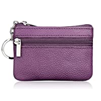 Small Genuine Leather Coin Purse Bag with Keyring for Key Holder Pouch Double Zip