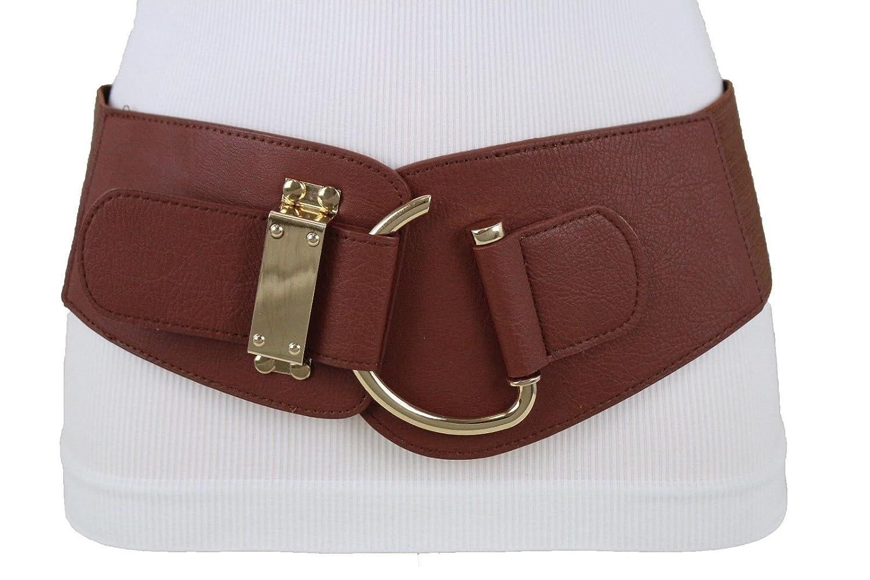 TFJ New Women's Wide Fashion Belt Hip High Waist Gold Metal Hook Buckle Plus M L Xl wb wide hook brown