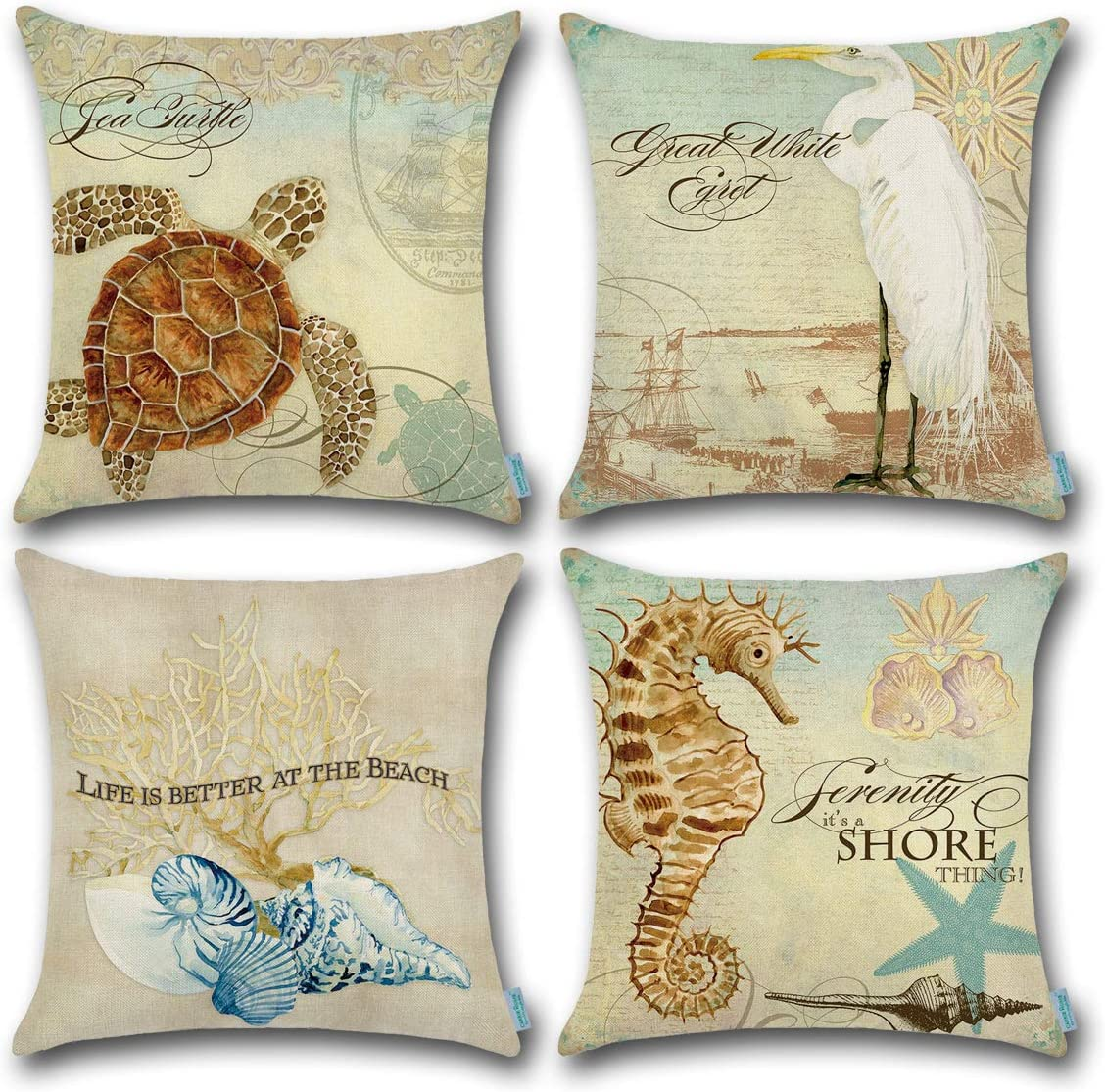 CARRIE HOME Beach Seashell Decor Golden Sea Turtle Seahorse/Blue Conch/White Waterfowl Decorative Throw Pillow Covers for Mediterranean Style, Set of 4