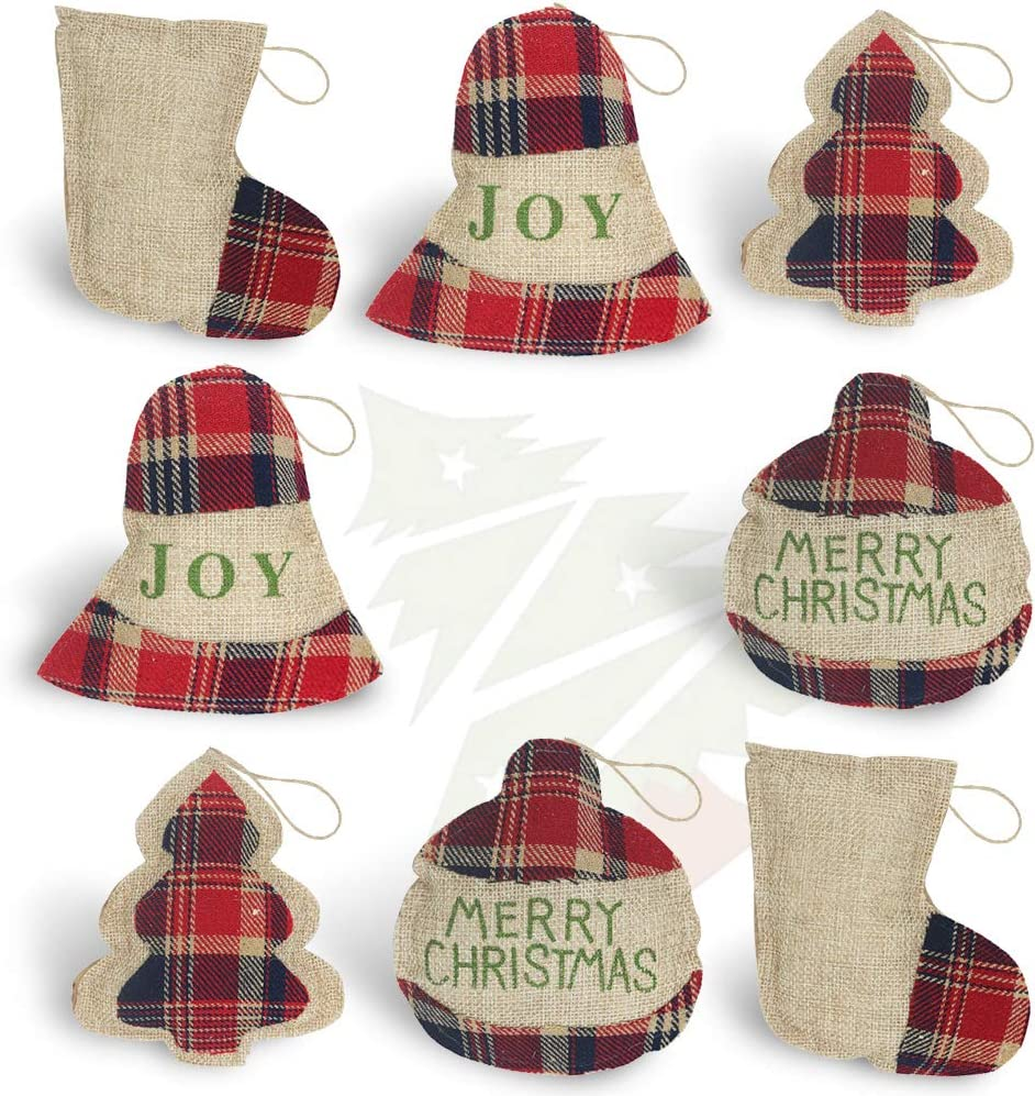 OWUYUXI 8 Pcs Burlap Christmas Ornaments 2020 Set, Funny Unique Mini Christmas Tree Ornaments Bulk, Rustic Christmas Decorations Decor, Small Red Plaid Christmas Stockings/ Ball/ Tree/ Bell