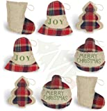 OWUYUXI 8 Pcs Burlap Christmas Ornaments 2020 Set, Funny Unique Mini Christmas Tree Ornaments Bulk, Rustic Christmas…