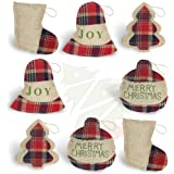 OWUYUXI 8 Pcs Burlap Christmas Ornaments 2020 Set, Funny Unique Mini Christmas Tree Ornaments Bulk, Rustic Christmas Decorati