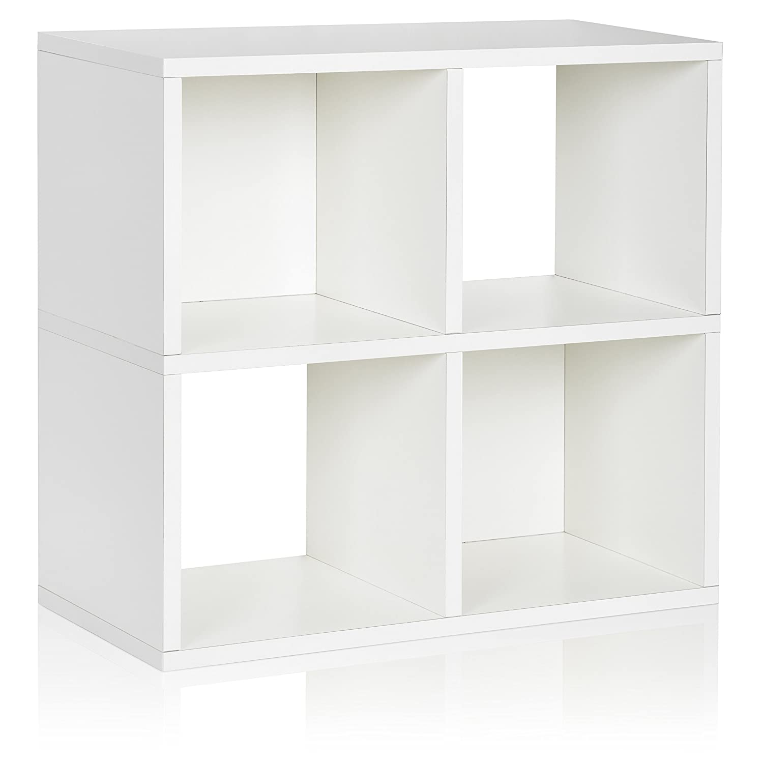Way Basics WB-4CUBE-WE 4 Cubby Bookcase, Stackable Organizer and Storage Shelf, White PS-SC-2-EO