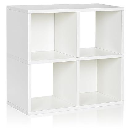 Etonnant Way Basics Eco 4 Cubby Bookcase, Stackable Organizer And Storage Shelf,  White (made