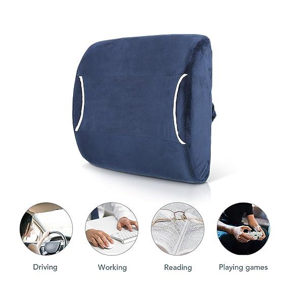 Cojín lumbar con espuma viscoelástica con compresa de calor/frío, correas ajustables y diseño ortopédico para aliviar el dolor de espalda baja: Amazon.es: ...