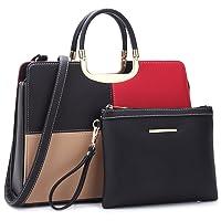 Deals on Dasein Faux Leather Briefcase Satchel Handbag w/Matching Pouch