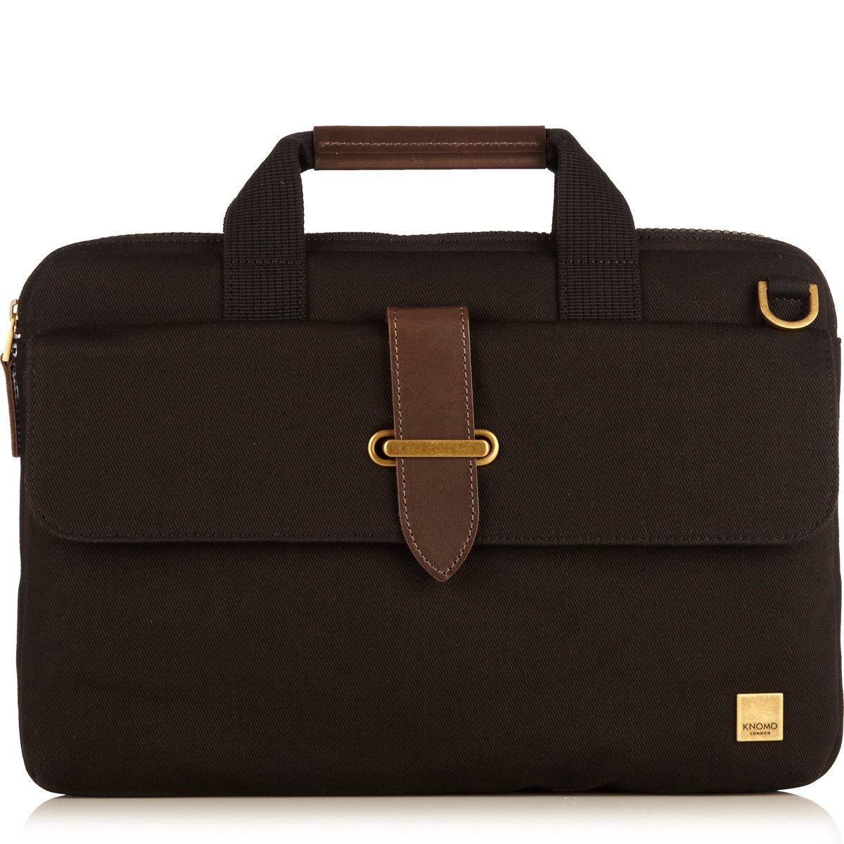 Knomo Balham Par 15-Inch Cotton Canvas Slim Briefcase, Black