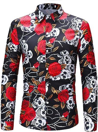 AiRobin Camisa básica de Manga Larga con Estampado de Calaveras para Hombre Silm: Amazon.es: Ropa y accesorios