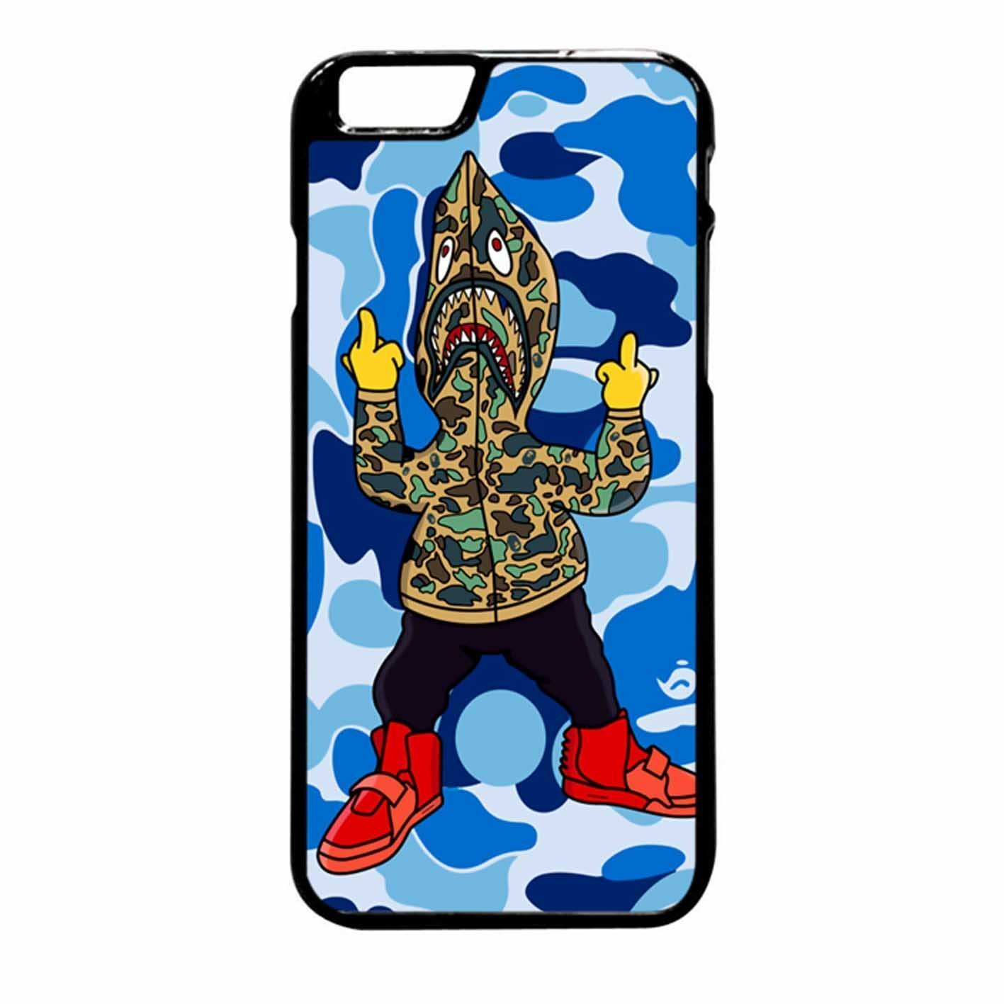 newest 8ebbf 8450a Bape Shark Hoodie Case / Color Black Rubber / Device iPhone 6 Plus/6s Plus