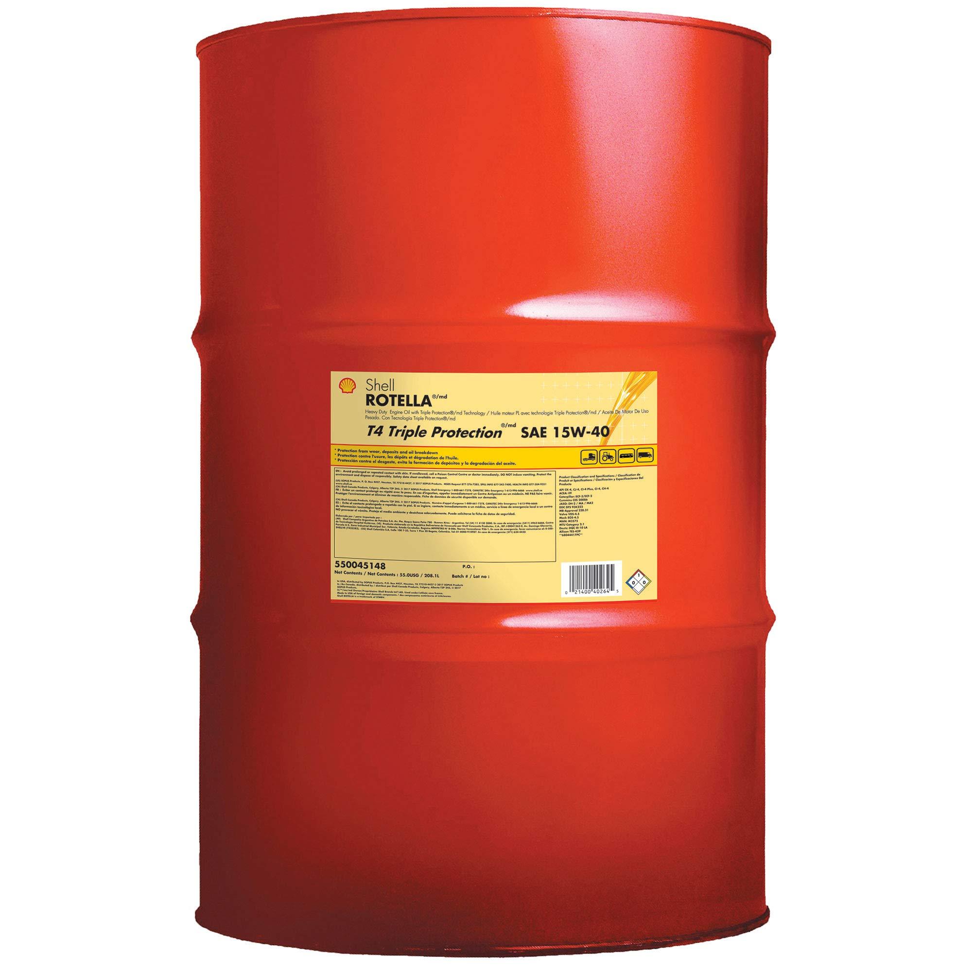 ROTELLA 550045148 T4 Drum Triple Protection Motor Diesel Oil (15W-40 CK-4), 55 Gallon