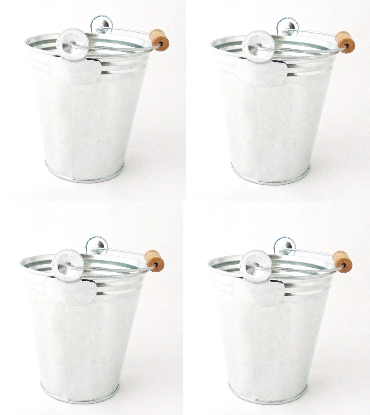 Set of 4 Metal Pails with Wood Handle