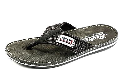rieker Herren Zehentrenner Schwarz Schuhe