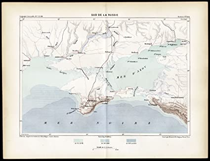 Amazon.com: Antique Map-BLACK SEA-UKRAINE-KRIM-SOUTHERN RUSSIA ... on kolb russia map, kris russia map, kiev russia map, kursk russia map, ukraine russia border map, kara russia map, kuban russia map,