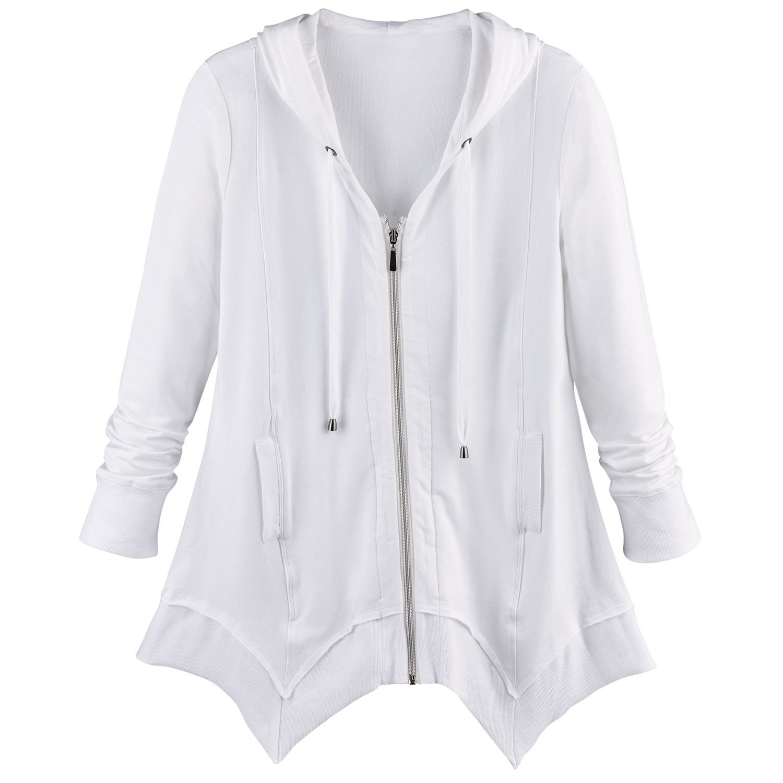 CATALOG CLASSICS Women's French Terry Zip-up Hoodie - Tunic Style Sharkbite Hem Hooded Sweatshirt - White - 1X