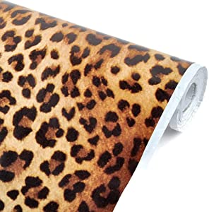 yazi 18in X 33ft Sexy Leopard Print Wallpaper with Self-Adhesive Removable PVC Wall Sticker Shelf Drawer Liner, PVC Mat.(Cover 48 sq.ft)