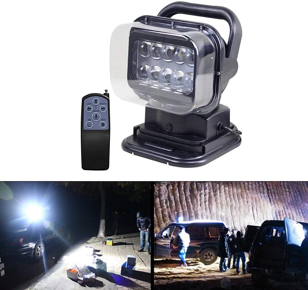 LITTOU - Foco LED de búsqueda para el trabajo, mando a distancia con base magnética, resistente a la intemperie, giratorio 360 grados, para coche, offroad, caza, barco, jardín, 50 W, CC 12 V