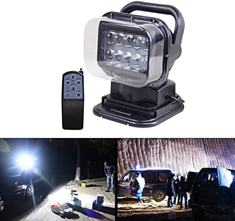 Led Search Light Work Light Radio Remote Control Controlled With Magnetic Base Searchlight Cree Chip Waterproof 50 W Dc 12 V 360 Degree Rotation For Car Offroad Hunting Boot Garden Amazon Co Uk Car