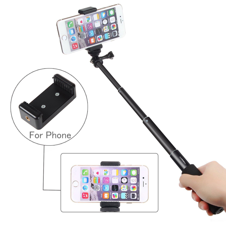 Palo Selfie Stick Luxebell Monopod de Extensión Ajustable para Gopro Hero4/3+/3/2, Sony Action Cam y Smartphone - Negro por solo 9,99€
