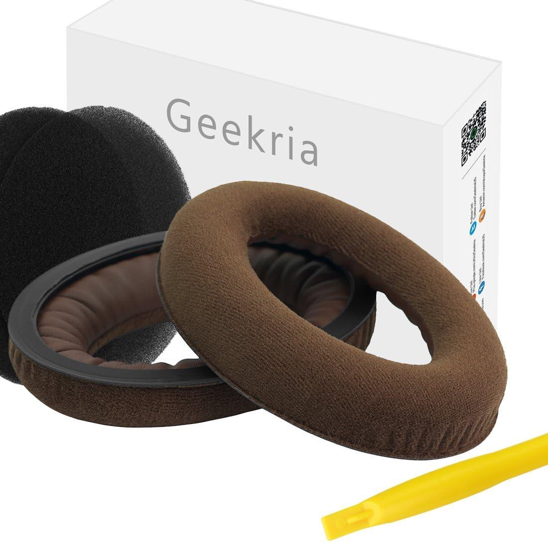 Geekria Earpads for HD598, HD598SE, HD598CS, HD515, HD555, HD595, HD518 Headphones Replacement Ear Pad/Ear Cushion/Ear Cups/Ear Cover/Earpad Repair Parts (Dense Velvet Brown)