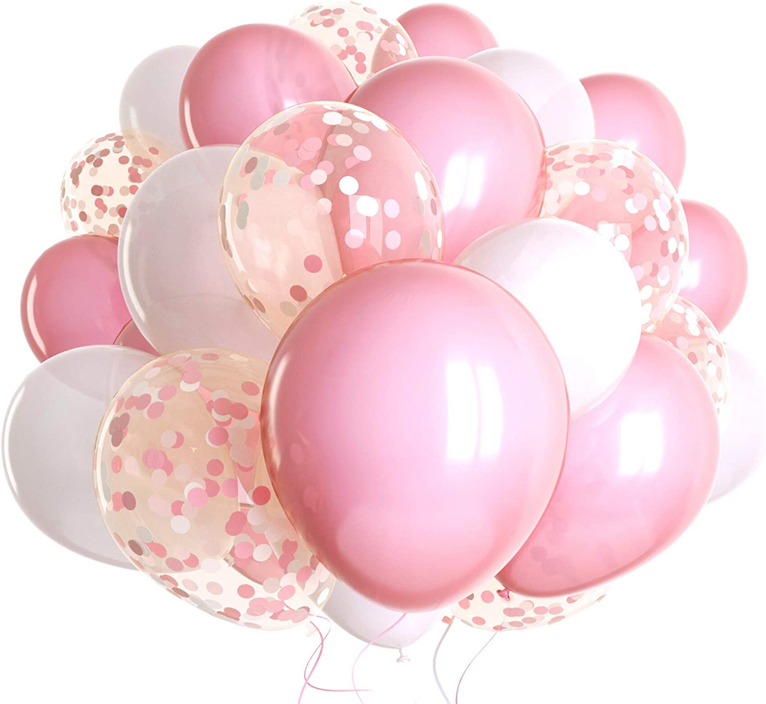 60 Pack Pink Balloons + Pink Confetti Balloons + White Balloons w/Ribbon | Light Pink Balloons | Pink Balloon | Pink Latex Balloons | Baby Pink Balloons | Wedding Shower Decorations | Bulk Balloons |