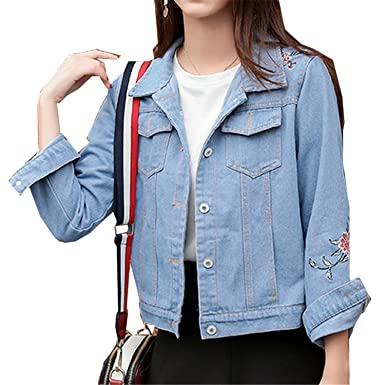 Henraly Women Autumn Jeans Jackets Female Long Sleeve Turn-down Collar Abrigos Light blueS
