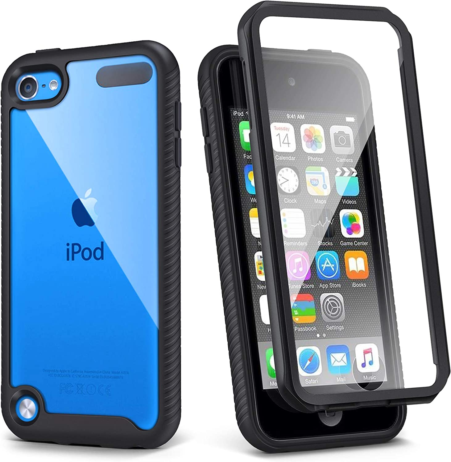 iPod Touch 7th Generation Case, IDweel Armor Shockproof Case Build in Screen Protector Heavy Duty Full Protection Shock Resistant Hybrid Rugged Cover for Apple iPod Touch 5/6/7th Generation, Black