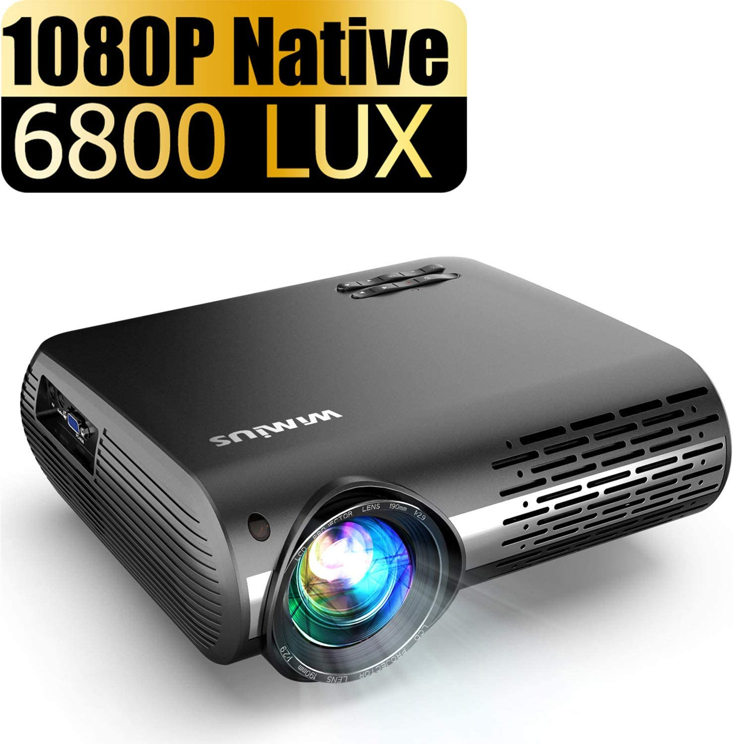 Native 1080P Projector, WiMiUS Upgrade 6800 Lumens Projector Support 4K Dolby 200'' Display, 4D ±50° Keystone Correction, Zoom Function for Both Indoor and Outdoor Use
