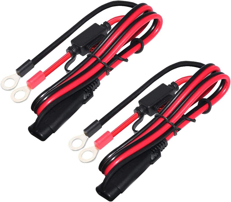 ZHITING 2 Piezas Cable de Conexión SAE Arnés de Terminal de Anillo de 12V con Fusible de 10A 2FT Batería Charger Cable para Coche Moto