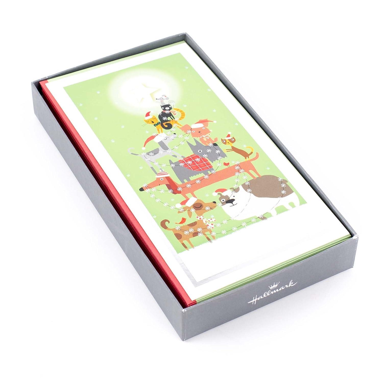 Amazon.com : Hallmark Christmas Boxed Cards, Pet Christmas Tree (16 ...