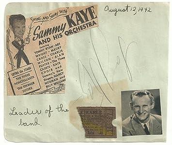 bandleader sammy kaye d 87 signed auto vintage full album page