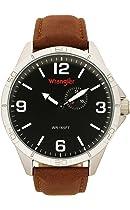 Wrangler Men's Watch, 48mm Titanium IP Case, Black Face, Brown Polyurethane Band (WRT5902-1B5)
