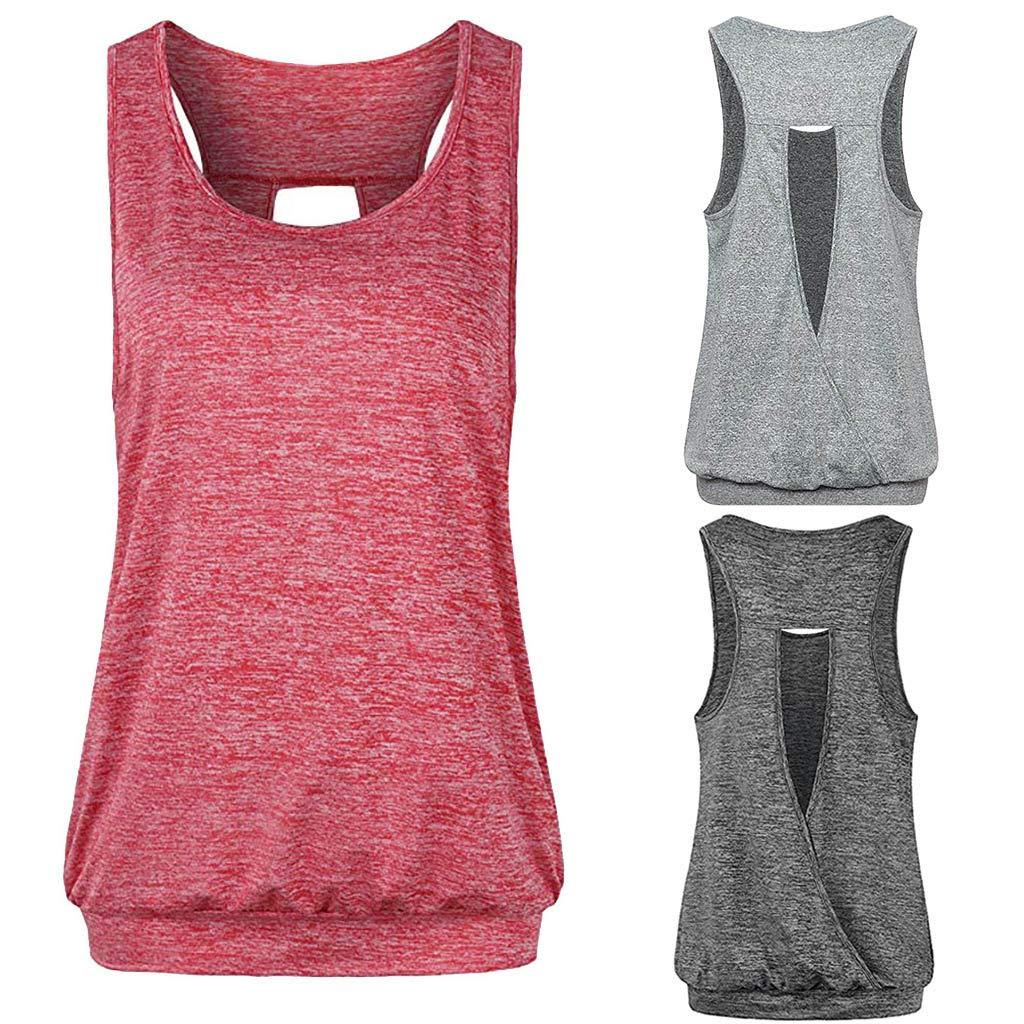 WUDUBE Gilet de Sport❤Femmes Top sans Dos Faire des Exercices T-Shirt de Yoga