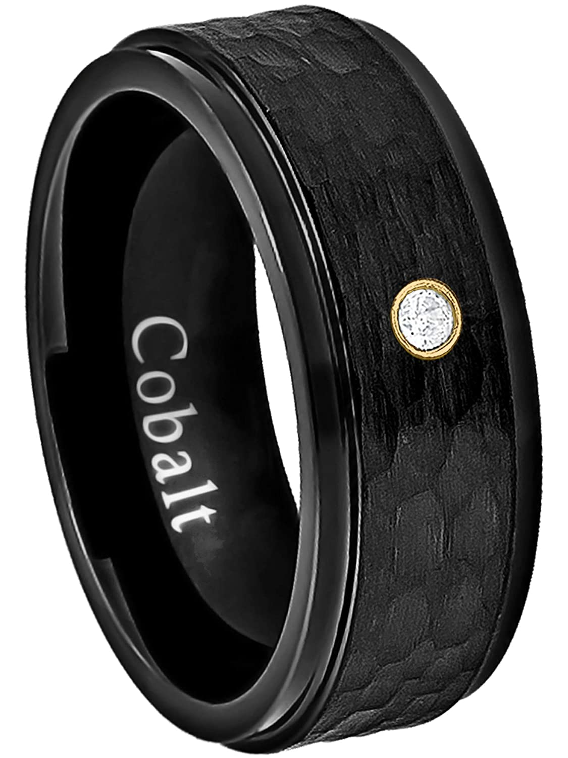 Jewelry Avalanche 8MM Comfort Fit Hammered Black Ion Stepped Edge Mens Cobalt Chrome Wedding Band April Birthstone Ring 0.07ct Diamond Cobalt Ring