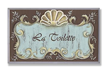 Stupell Home Décor La Toilette Aqua And Brown Scallop Shell Crest Bathroom Wall Plaque 10 X 0 5 X 15 Proudly Made In Usa Amazon In Home Kitchen