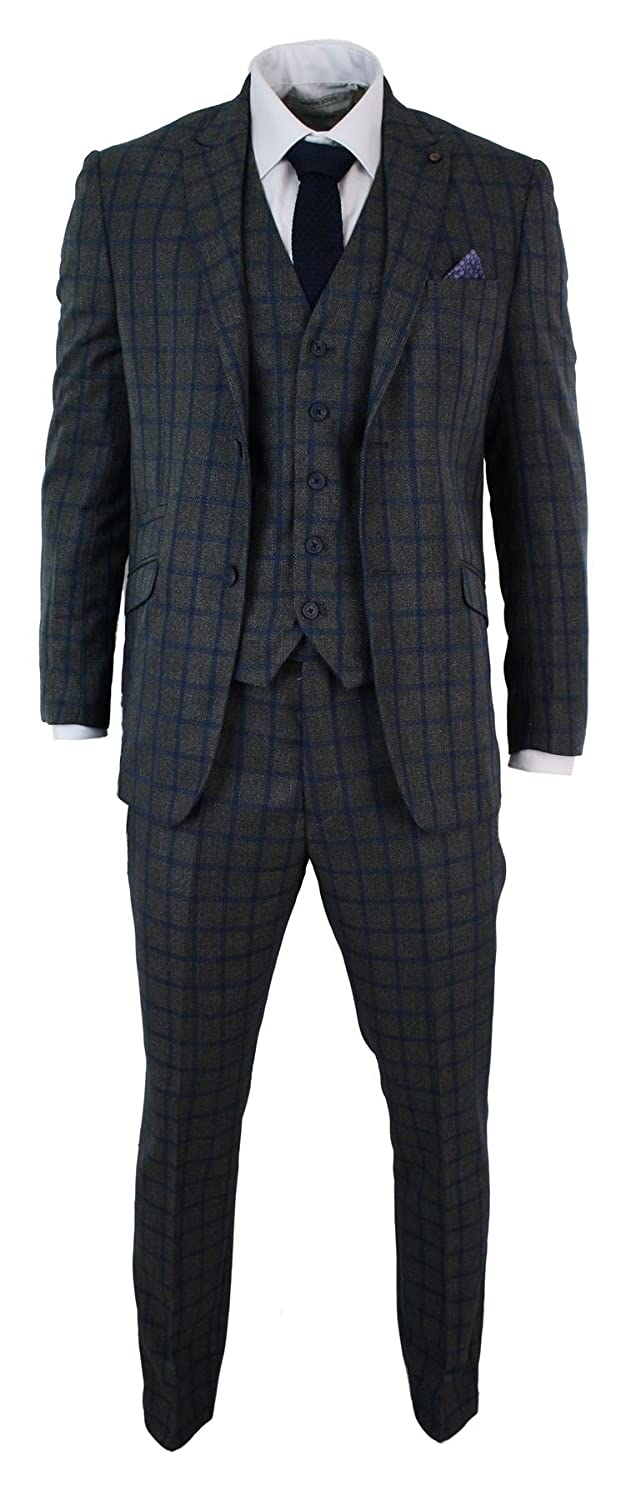 Cavani Mens Check Vintage Herringbone Tweed Charcoal Blue 3 Piece Suit Tailored Fit