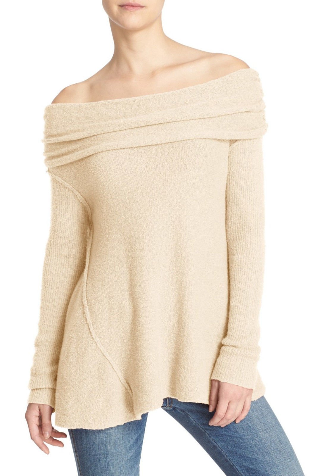 Free People Womens Boucle Cowl Neck Pullover Sweater Beige M