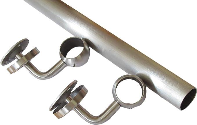 Pasamanos de acero inoxidable de 1,1 metros, juego con soportes, pasamanos de 42,4 mm, acero inoxidable mate (1100 mm): Amazon.es: Bricolaje y herramientas