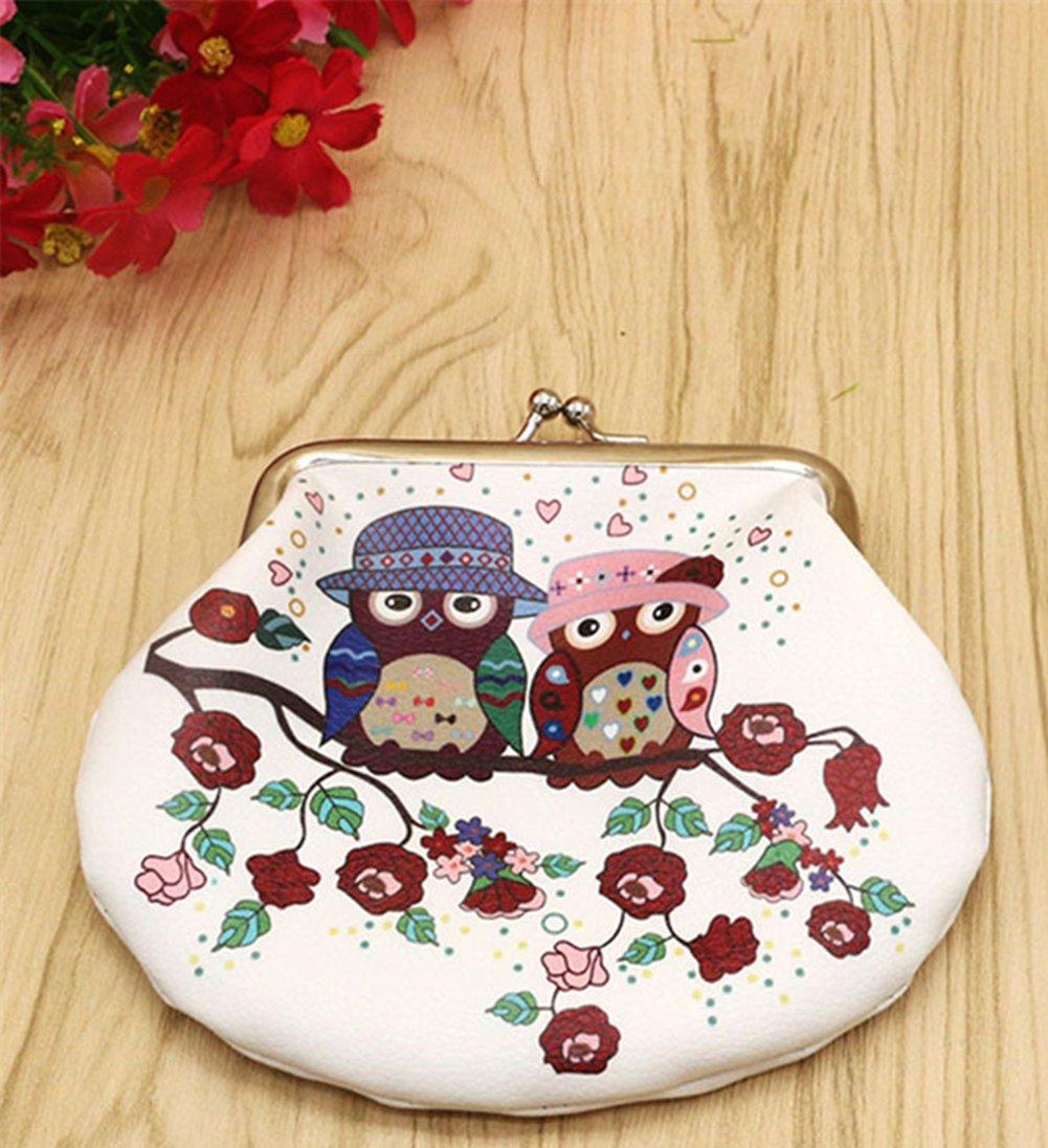 Keys Qinlee Women Canvas Coin Purse Owl Pattern Canvas Coin Purse Pouch Bag for Credit Card Lipstick Cute Small Handbag Coin Button Purse Mini Bag Style-1 ID Card Headset