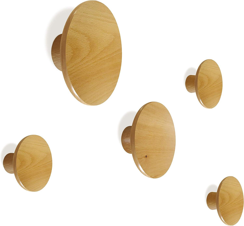 HomeDo 5 Pack Wooden Coat Hooks Wall Mounted Vintage Handcraft Hanger Single Organizer Hat Rack Beech Wood 5Pcs, 3inch HD
