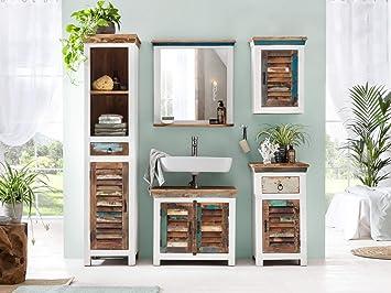 Woodkings® Bad Set Perth 5teilig recyceltes Holz rustikal weiß ...