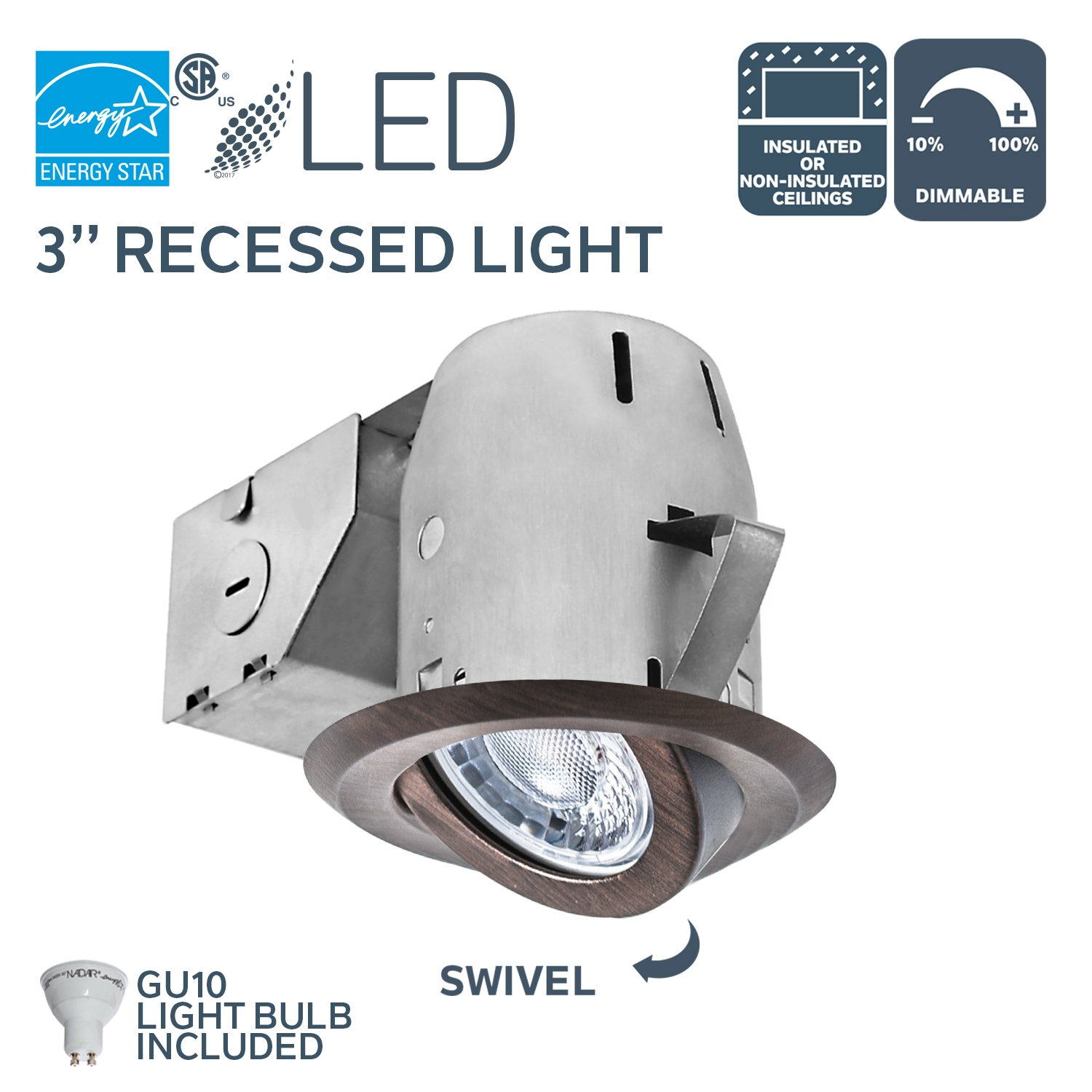 Nadair GU300L-SWORB 3in LED Recessed Lighting Swivel Spotlight Dimmable Downlight - IC Rated - 3000K Warm White GU10 550 Lumens Bulb (50 Watts Equivalent) Included, Bronze Color